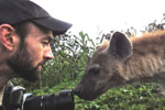 Marcus Baynes-Rock with a hyena. Photo by: Marcus Baynes-Rock